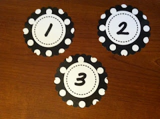polka dot number labels 1-32