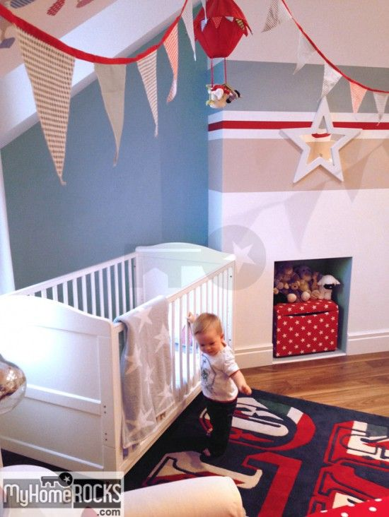 My baby boy's room, red white and blue nursery decor. More at: http://www.myhomerocks.com/2014/02/my-little-boys-bedroom-happy-nursery-decor-for-a-happy-baby/ #decor