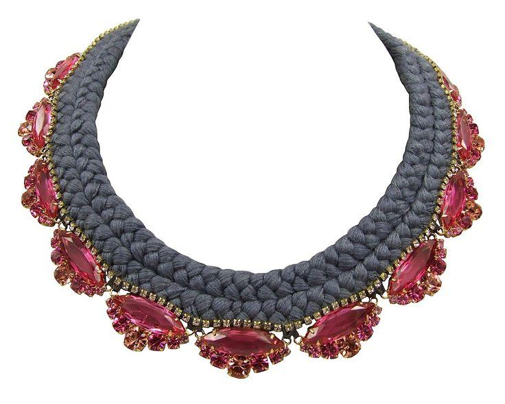 Paris Luxe charcoal braid fuchsia crystals - Jolita Jewellery  #necklace #braided #silk #crystals #gold #luxury #glamour #handmade #statementnecklace #jolita #jolitajewellery