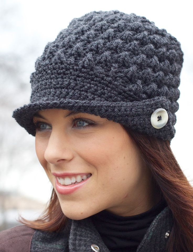 Free Crochet Pattern For Ladies Beanie Hat : Yarnspirations.com - Patons Womens Peaked Cap ...
