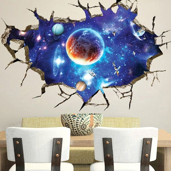 3D Outer Space Wall Stickers Home Decor Mural Art Removable Galaxy Wall  Decals Nice Ideas