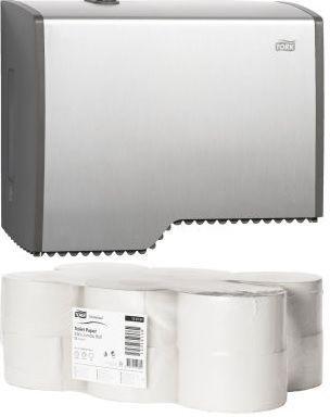 OFERTA! Pachet promotional format din Tork dispenser din aluminiu pentru hartie igienica 455000 si un bax de Tork hartie igienica mini jumbo 120161 x 12 role.