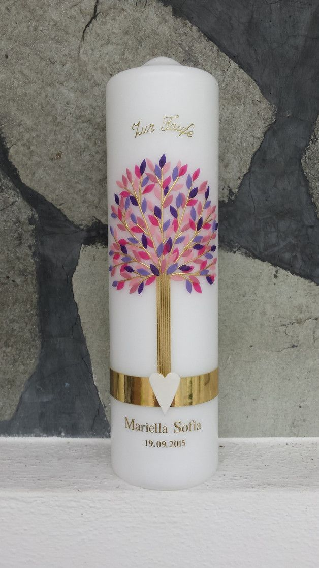 Taufkerze mit Lebensbaum und Name, Geschenk zur Taufe oder Geburt / baptism candle with tree of life and name made by Hänsel & Gretel Candleart via DaWanda.com