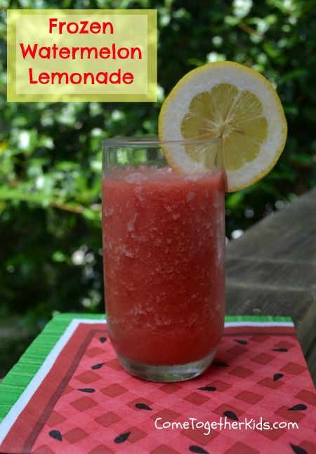 Frozen Watermelon Lemonade via Come Together Kids - a cool refreshing and easy treat!: Watermelon Lemonade, Summer Drink, Ice Cubes, Recipe, Food, Frozen Watermelon, Watermelon Treat, Kid