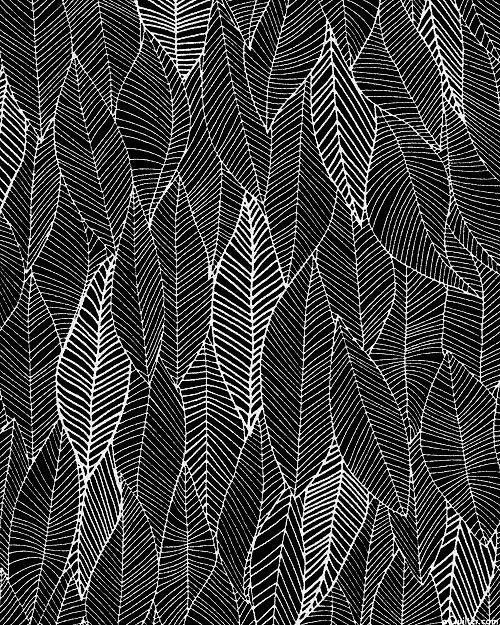 In the Bloom - Linear Leaf Overlay - Black