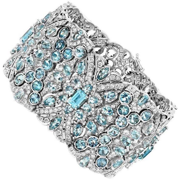 Aquamarine and Diamond  White Gold Bracelet 1 #GoldBracelets