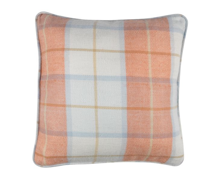 Perk up your sofa with a coral checked cushion.