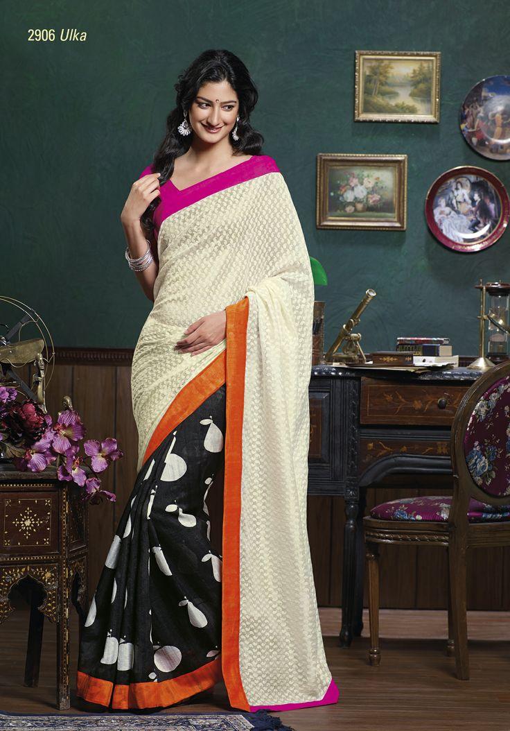 Bhagalpuri material black & white combination saree  with  gorgeous  brasso pallu & elegant orange & pink border patta on both side