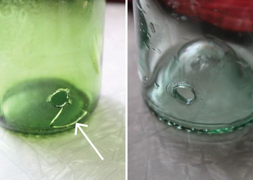 DIY instructions for drilling a hole in a bottle/jar