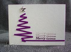 Postal navideña árbol de navidad con cinta de un color