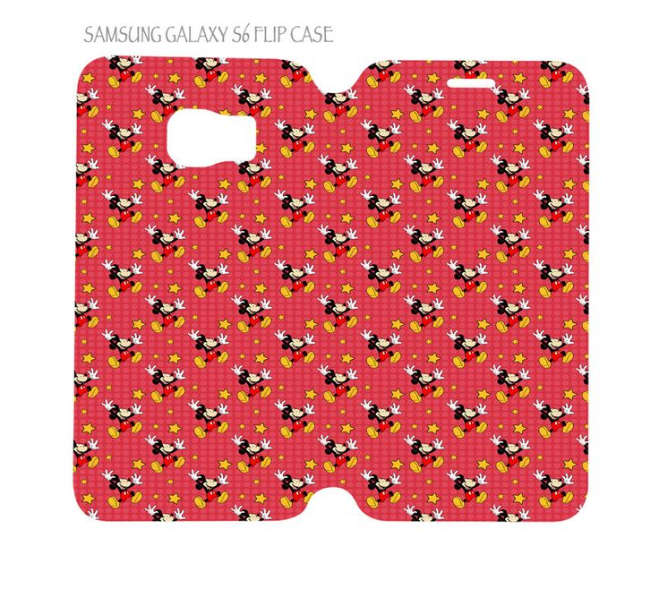 Samsung Galaxy S6 G920 Folio Flip Case Mickey Mouse Red Background #QuinnCafe