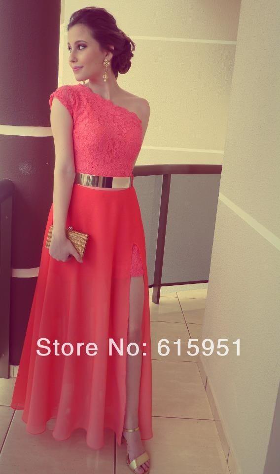 Encontrar Más Vestidos de Noche Información acerca de 362014 Vestidos Coral  Color Vestidos Formales mejor encaje