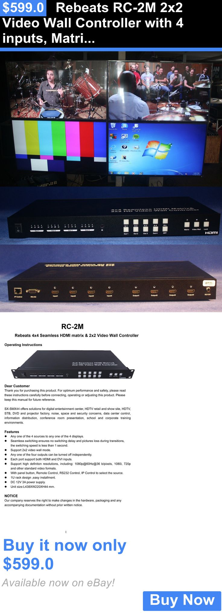Other TV Video and Audio Parts: Rebeats Rc-2M 2X2 Video Wall Controller With 4 Inputs, Matrix Unit BUY IT NOW ONLY: $599.0