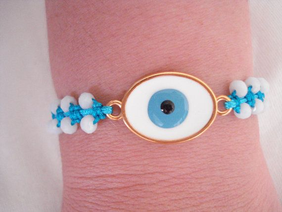 Gold evil eye bracelet Crystal bracelet Greek mati by Poppyg