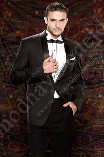 Свадебный / вечерний чёрный мужской костюм-двойка   рубашка   бабочка