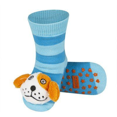 BABY RATTLE SOCKS 'SOXO' LARGE - PUPPY WITH ABS    #MamaFashionMe - Aussie Online Store with Beautiful Accessories for Girls + Some for Boys