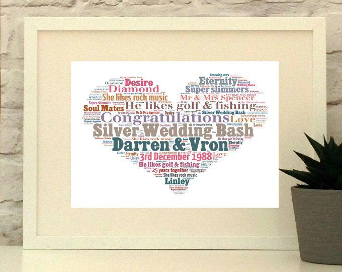 Silver Wedding Anniversary Personalised Heart Print