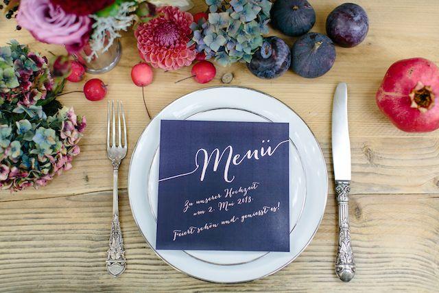 Plum colored menu card | Julia Winkler Photography | see more on: http://burnettsboards.com/2014/11/berry-autumn-wedding-inspiration/