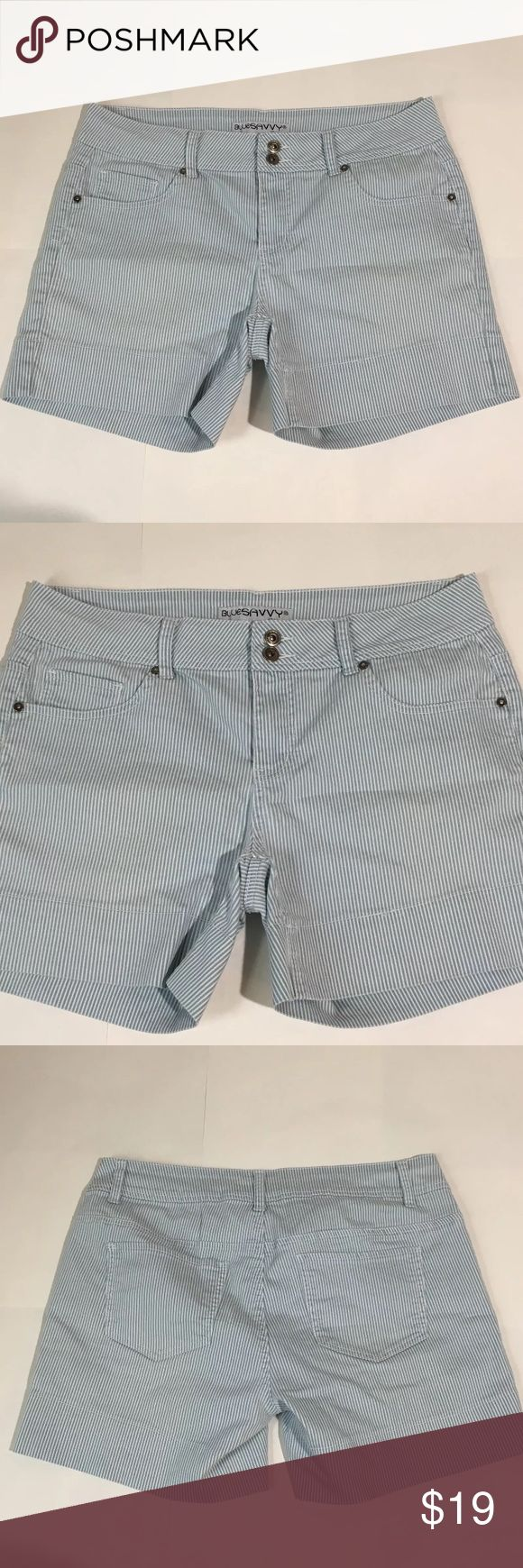 "Blue Savvy Jean Blue White Striped Shorts Sz 14 Women's Blue Savvy Jeans blue and white striped Jean Shorts Size 14. Measurements 17.5"" waist laying flat, 14.5"" waist to hem, 5.5"" inseam. Excellent condition no flaws Blue Savvy Shorts Jean Shorts"