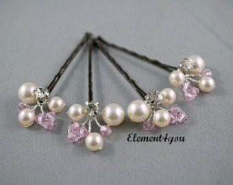 Ivory Pearl Clip Navy Blue Black Crystals Bridal от Element4you