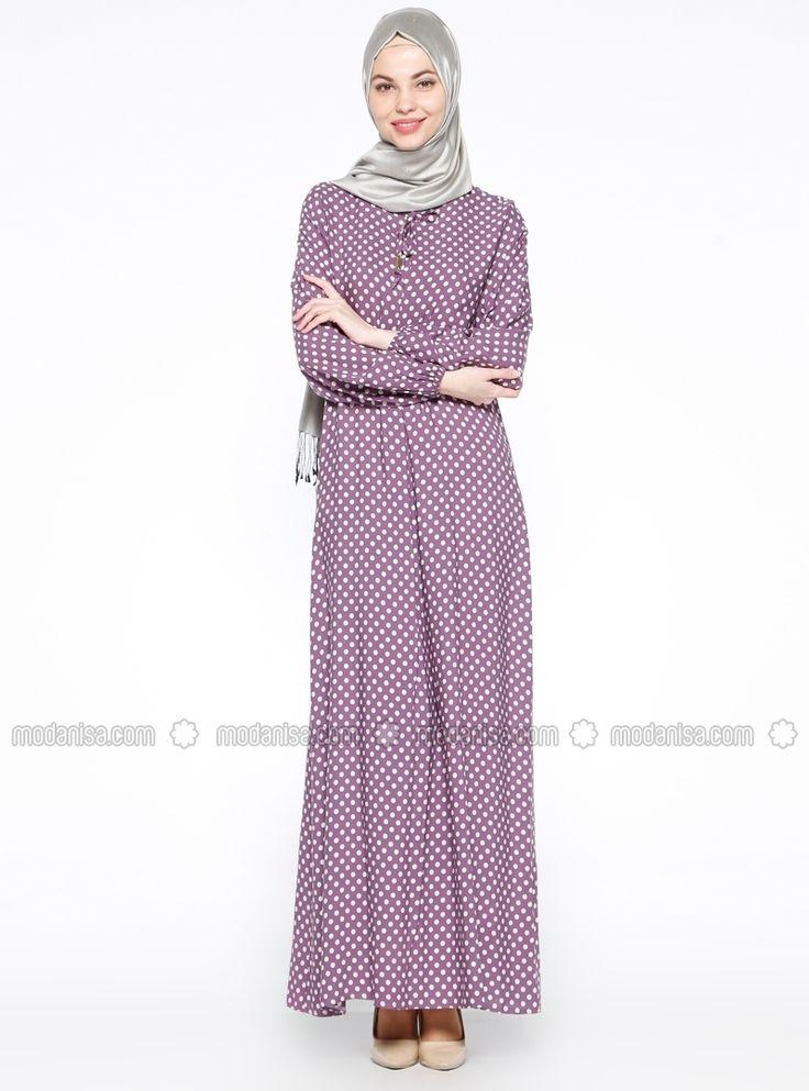 Puantiyeli Elbise - Açık Mor - Ginezza