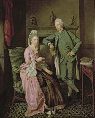 'A Conversation Piece' attributed to Benjamin Wilson, c1780. Leeds Museums and Art Galleries. This couple's fashionable Neoclassical taste is shown here in the Greek key pattern on the dado rail, the classically-inspired figures on the mantlepiece and the fluted and laurel-wreath decoration of the fireplace.