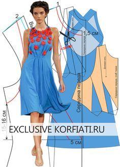 Это невероятное платье покорит вас с первого взгляда. Оно летнее, летящее, яркое, но главный акцент - огненно-красные цветы. Выкройка платья с аппликацией.