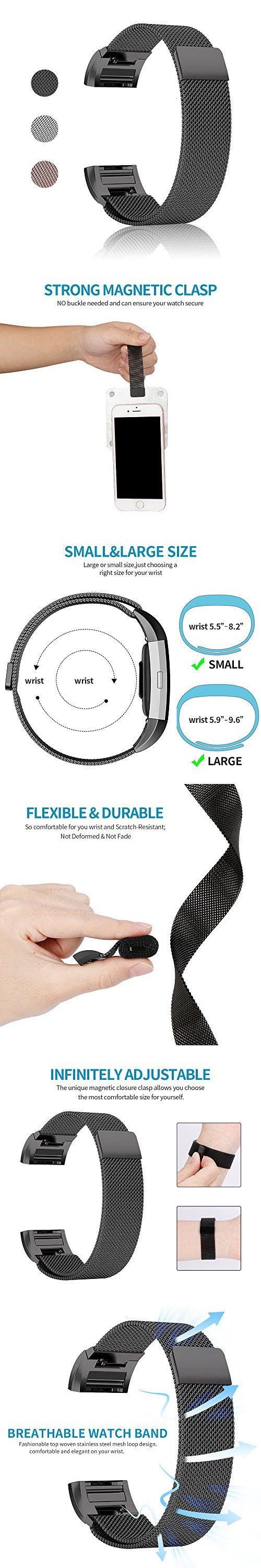 Fitbit Charge 2 Bands - TENKER Milanese Loop Stainless Steel Bracelet Smart Watch Strap with Unique Magnet Lock for Fitbit Charge 2 Replacement Wristbands (Black- Small)