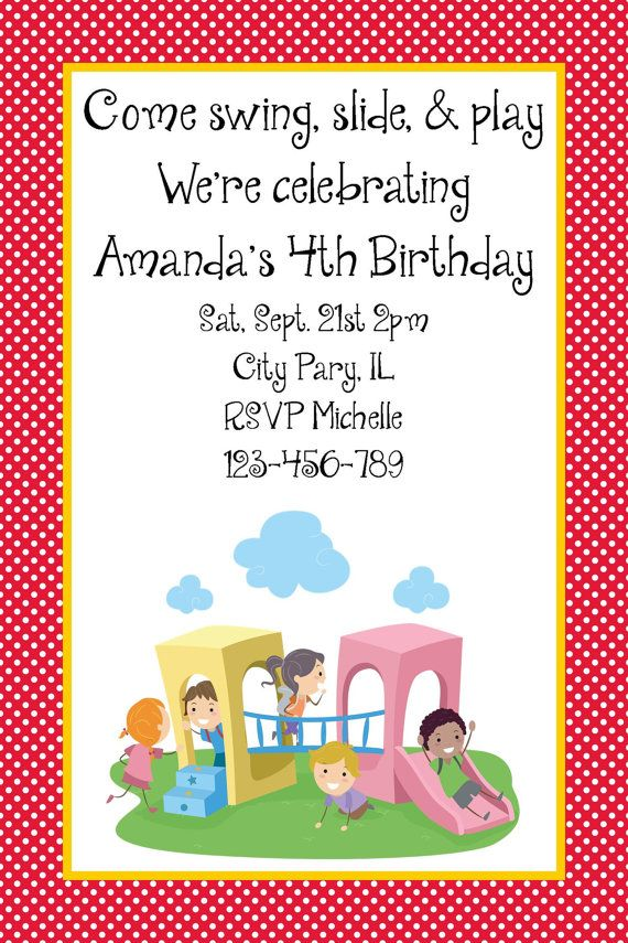 Girls or Boys Park Birthday Party