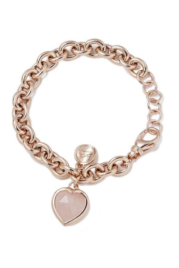 Rolò link bracelet with heart pendant