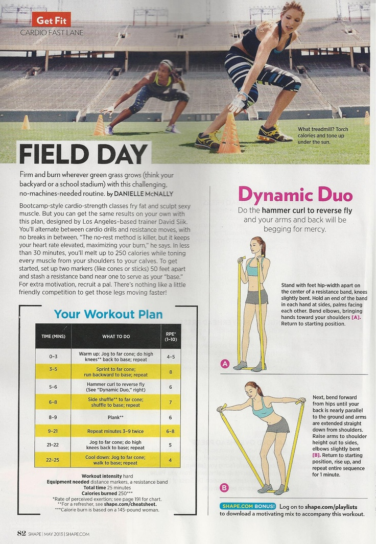 Outdoor workout (should you have an open field to play in) from Shape magazine. Trainer: Steve Siik www.Shape.com