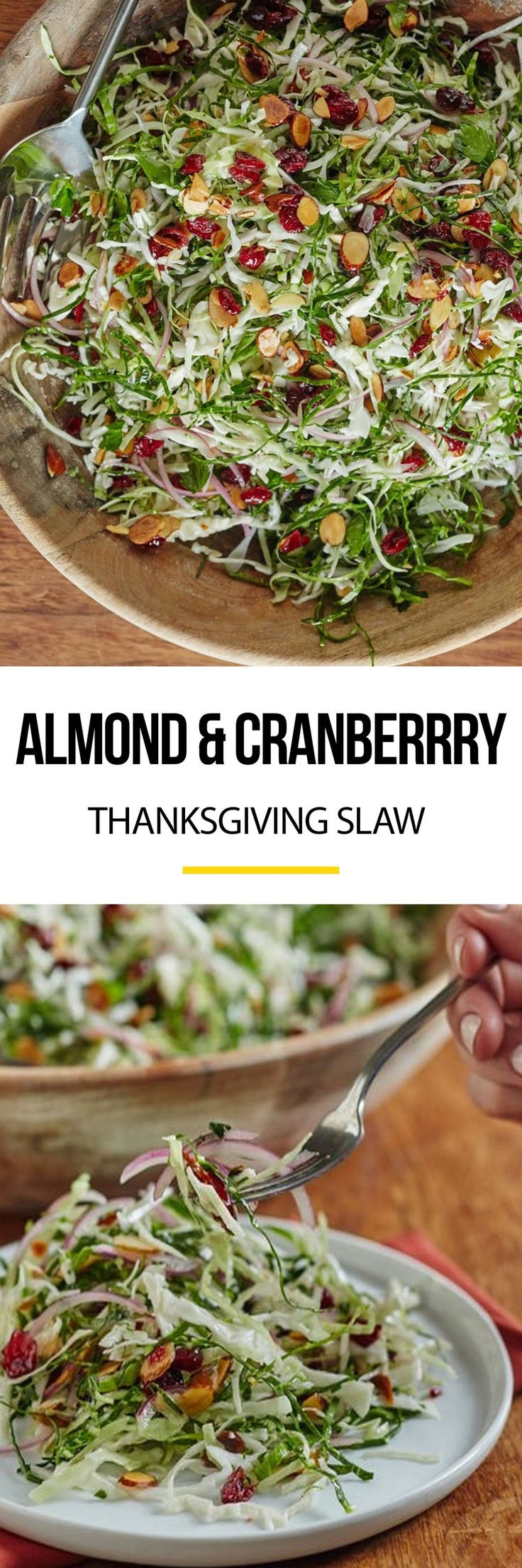 Almond and Cranberry Thanksgiving Slaw Recipe. Your Thanksgiving menu - whether classic or modern - doesn't need salad recipes for ideas for side dishes: it needs this slaw! No sides will top the delicious, vegetarian, healthy flavors and textures in this dish. It's even great for a high fiber lunch to make ahead and pack for work, or a weeknight addition to dinner.