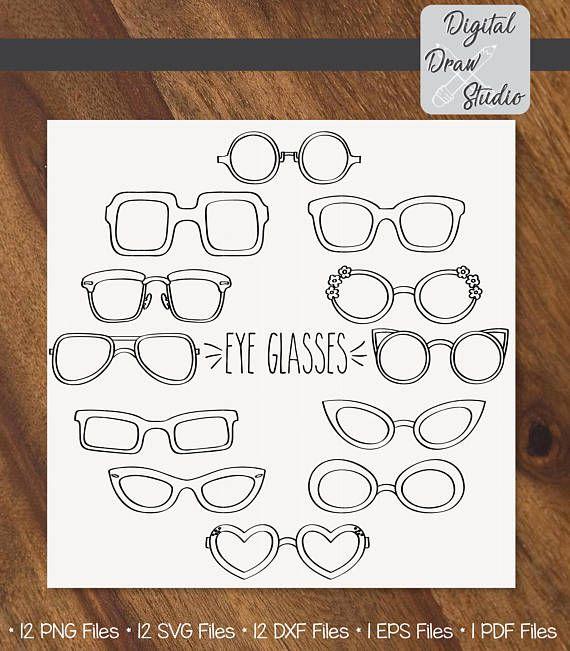 Eye Glasses Hand sketch Clip art  12 Outline Eye wear Fashion