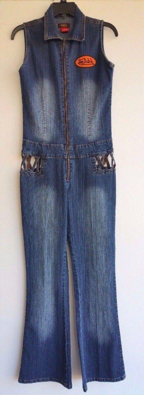 39.55$  Buy here - http://virbm.justgood.pw/vig/item.php?t=p5x3mz44302 - Van Dutch Retro VTG Distressed Denim Blue Jean Jumpsuit Sleeveless Junior Size 9 39.55$