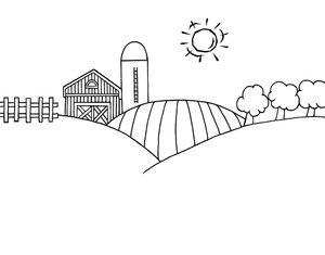 Black and White Cartoon Barn | Farm Clipart Image - Black and White Farm Landscape on a Sunny Day.