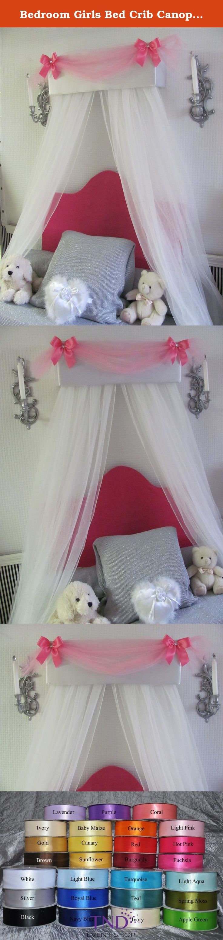 Crib for sale davao - Bedroom Girls Bed Crib Canopy White Padded Hot Pink Tulle Swag And Bow With White Sheer