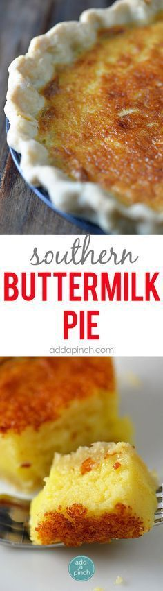 Southern Buttermilk Pie Recipe - Buttermilk Pie is a classic pie recipe well loved for generations in my family. A custardy pie that comes together quickly and easily with a light texture and a slight tangy flavor. // http://addapinch.com