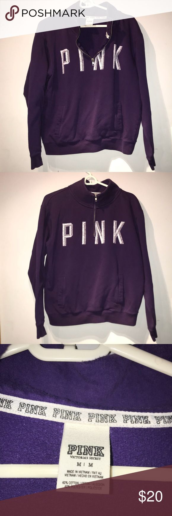 💖 Victoria's Secret PINK Pull Over Gently used condition size medium- Victoria's Secret PINK pull over sweatshirt 💜 perfect with a pair of sneaks and some crop jeans- price negotiable PINK Tops Sweatshirts & Hoodies