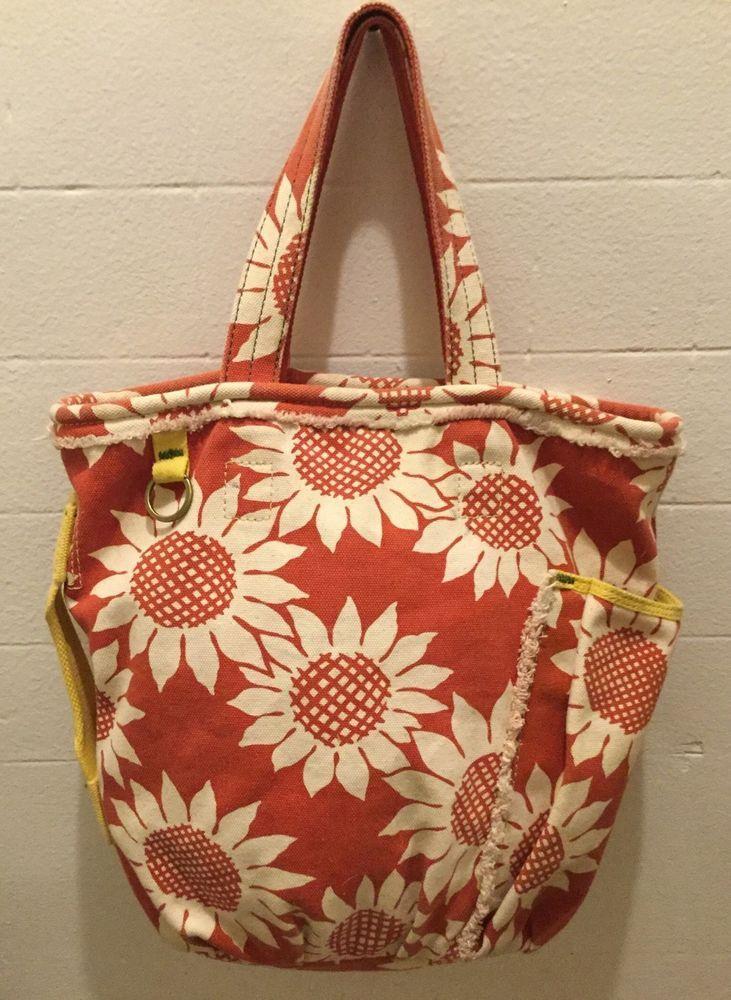 b6b61c198021 Lucky Brand Canvas Cotton Tote Shopper Beach Red White Flower Yellow Trim  GUC