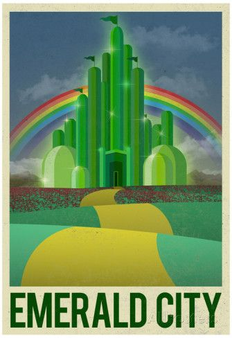 Wizard of Oz Emerald City Retro Travel Poster Poster. Love it and it is under $10, too, which makes it a great gift idea for anyone who grew up with or just plain loves the Wizard of Oz!