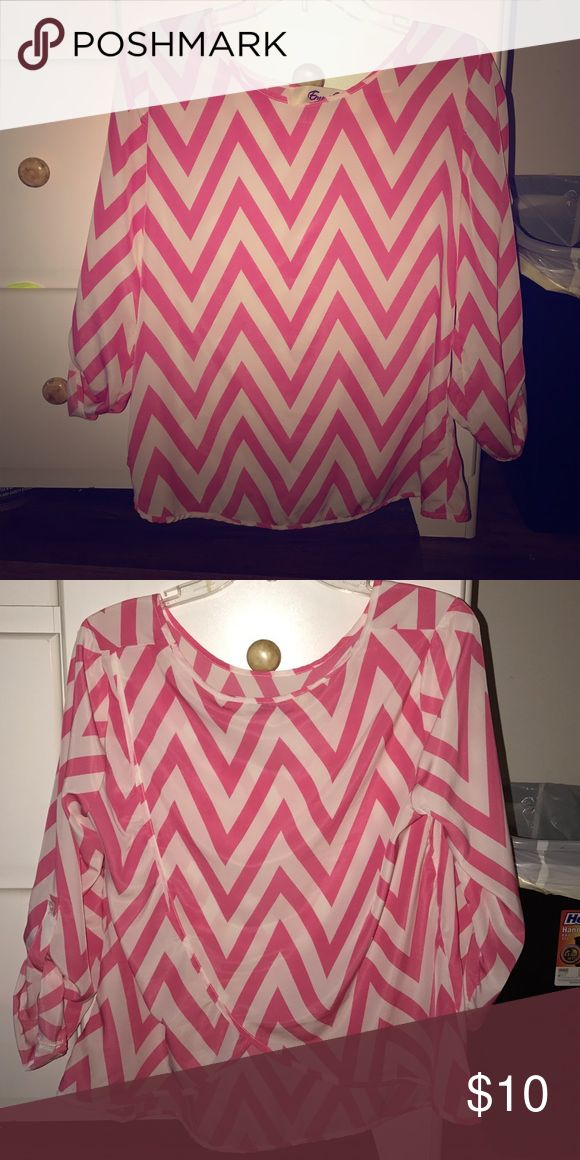 Chevron top Like new; boutique top size large emmelee Tops Blouses