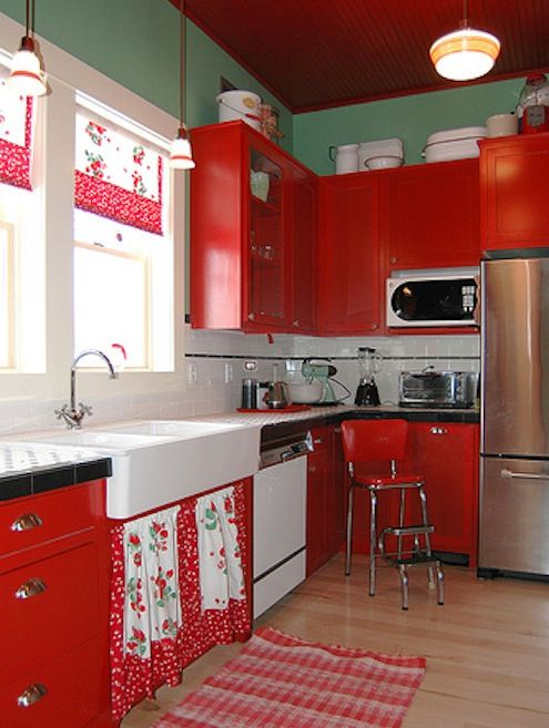 Bold Kitchen In Red Softened By Sea Foam Green. Love The Cabinet Curtains  Below The