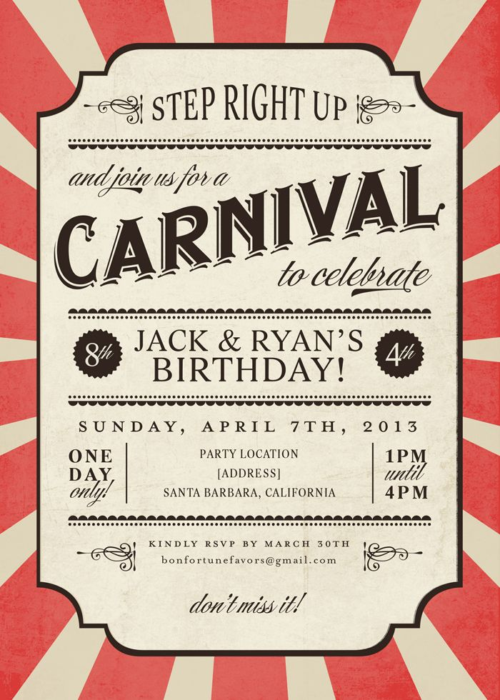 Carnival Invite // great idea for childrens birthday party invitation//// Not for a birthday though, I just like the design