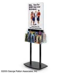 """Floor Standing Acrylic Poster Frames Stand With (10) 4""""W Brochure Holder Pocket On 2 Side. Double Sided 22x28 Signage Holder With Removale Dividers To Create 4"""" Wide And 8.5'' Wide Literature Pockets"""