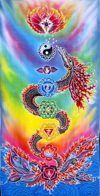 Chakra Dragon Balinese Batik Rayon Banner   Namaste   Chakra art