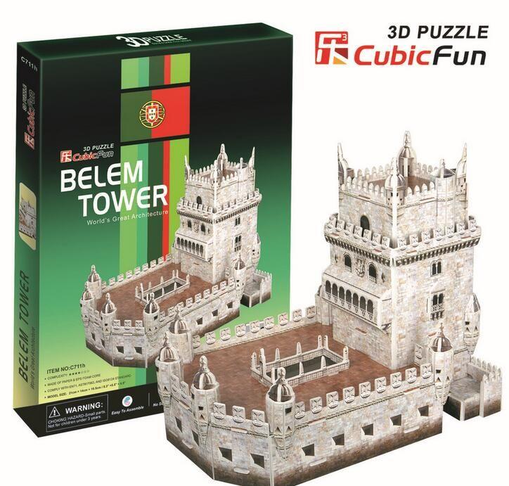 Средний Размер Куб. Весело 3D Бумаги Головоломки Башни Белем C711H 46 шт. 21*14*16.5 СМ(China (Mainland))