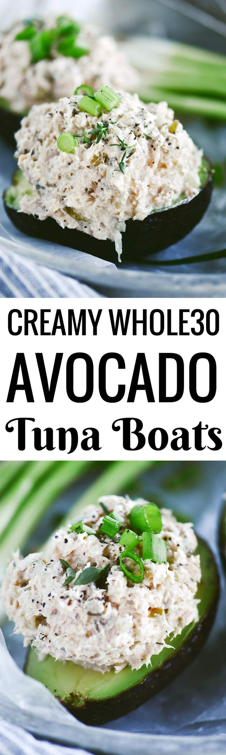 Ready for whole30 lunch in 5 minutes? Me too! Check out this recipe just for you. Creamy whole30 tuna avocado boats are topped with fresh herbs and are so healthy and easy! Whole30 lunch on the go. Whole30 meal ideas. whole30 meal plan. Easy whole30 dinne