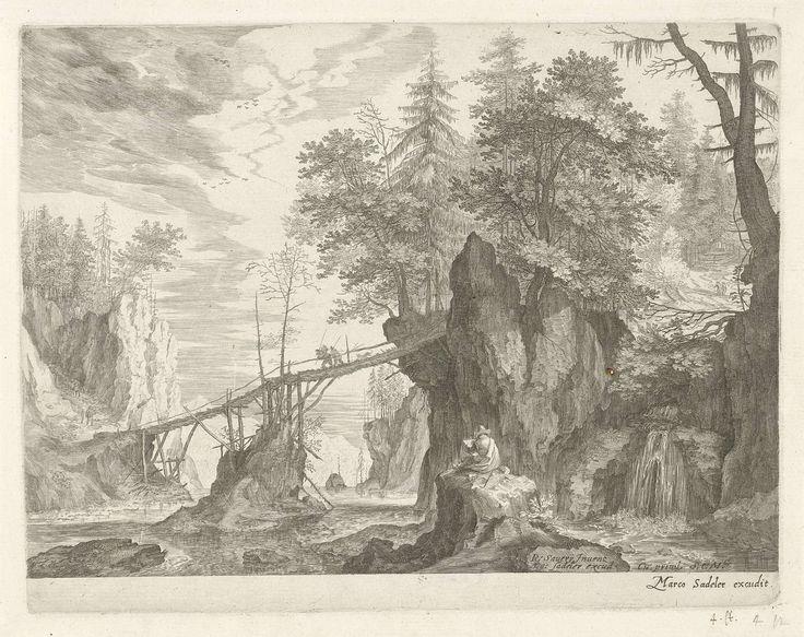 Tekenaar zittend op een steen voor een brug, Aegidius Sadeler, ca. 1609