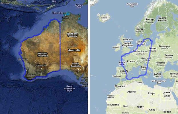 Western Australia compared to Europe.