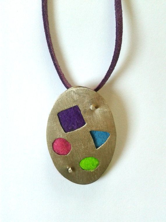 Ηandmade statement pendant with alpaca and felt fabric in purple,light green,fuchsia red and turquoise color